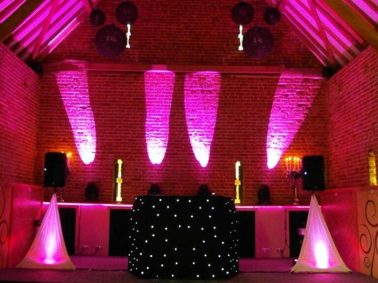 Southwood Hall hot pink uplighting