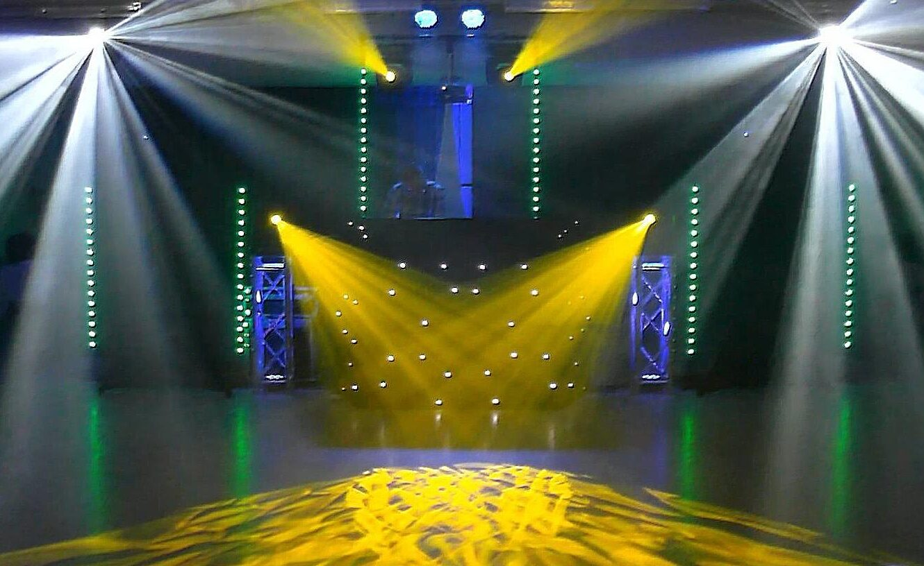 Disco Set Up with yellow and white lights