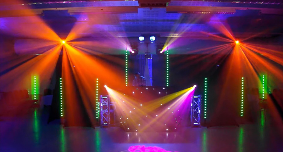 Orange, Pink and Green lighting at a mobile disco in Suffolk