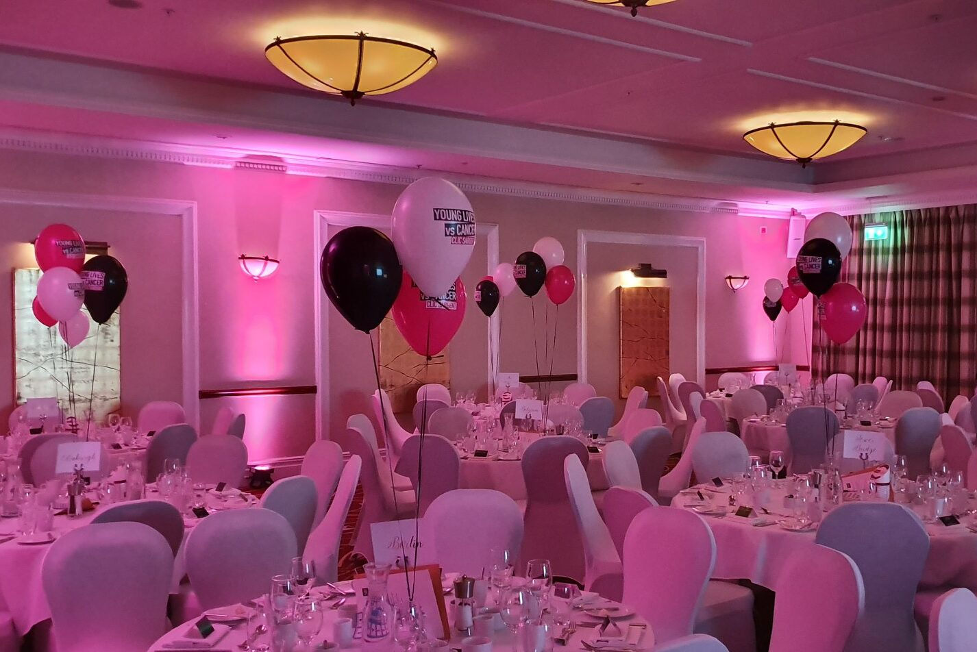 Pink uplighting for a party