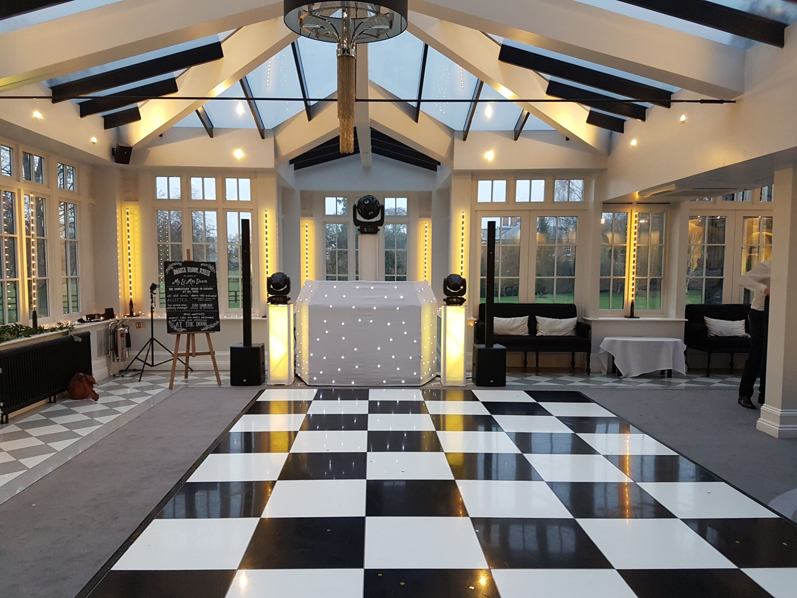 White starlit dj booth for a mobile disco at Swynford Manor