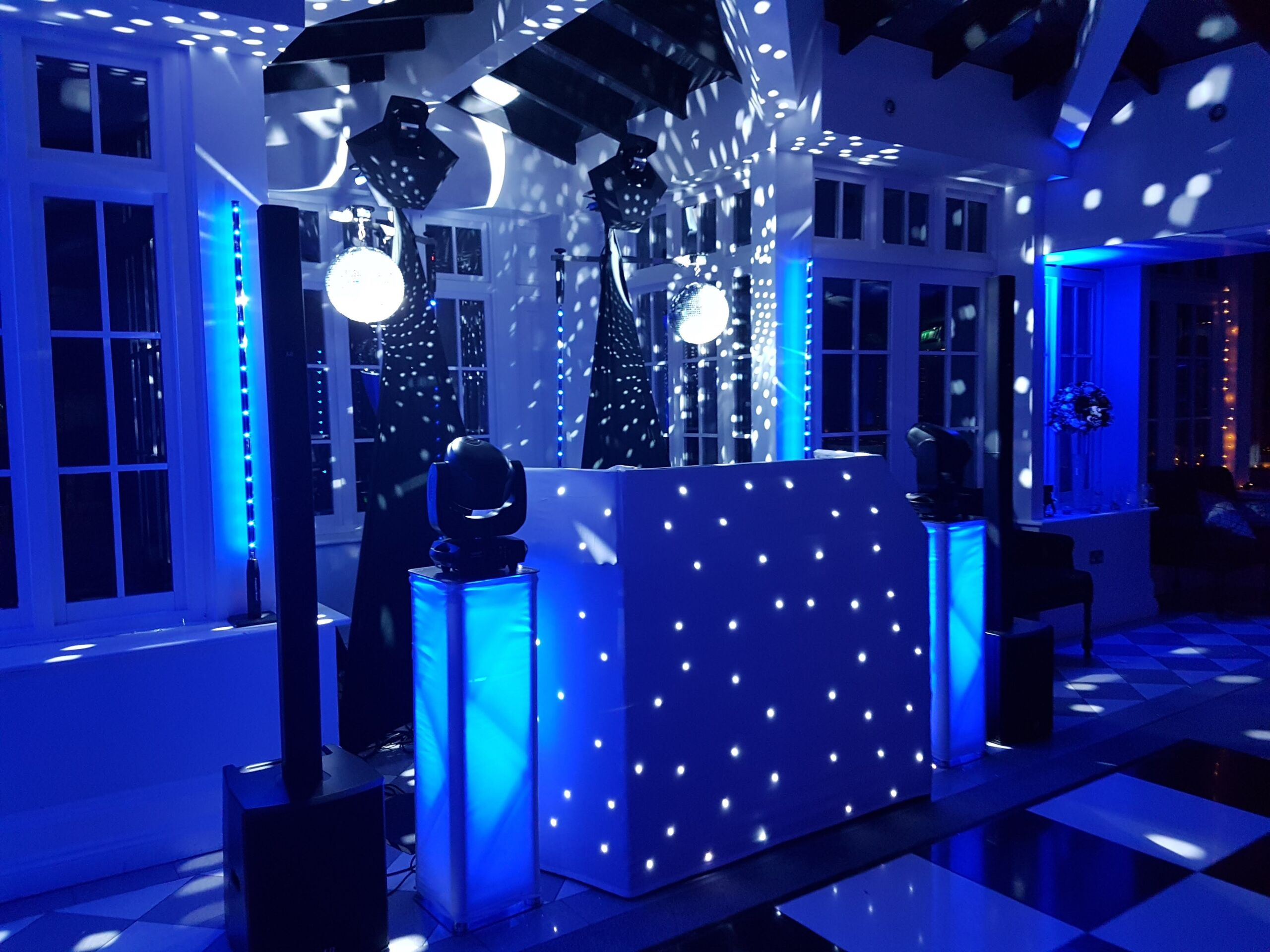 Mobile disco lit in blue at Swynford Manor