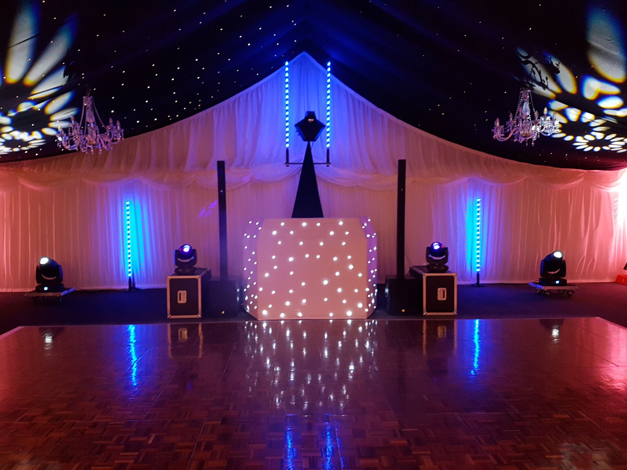 Mobile Disco Suffolk with uplighting and drapes