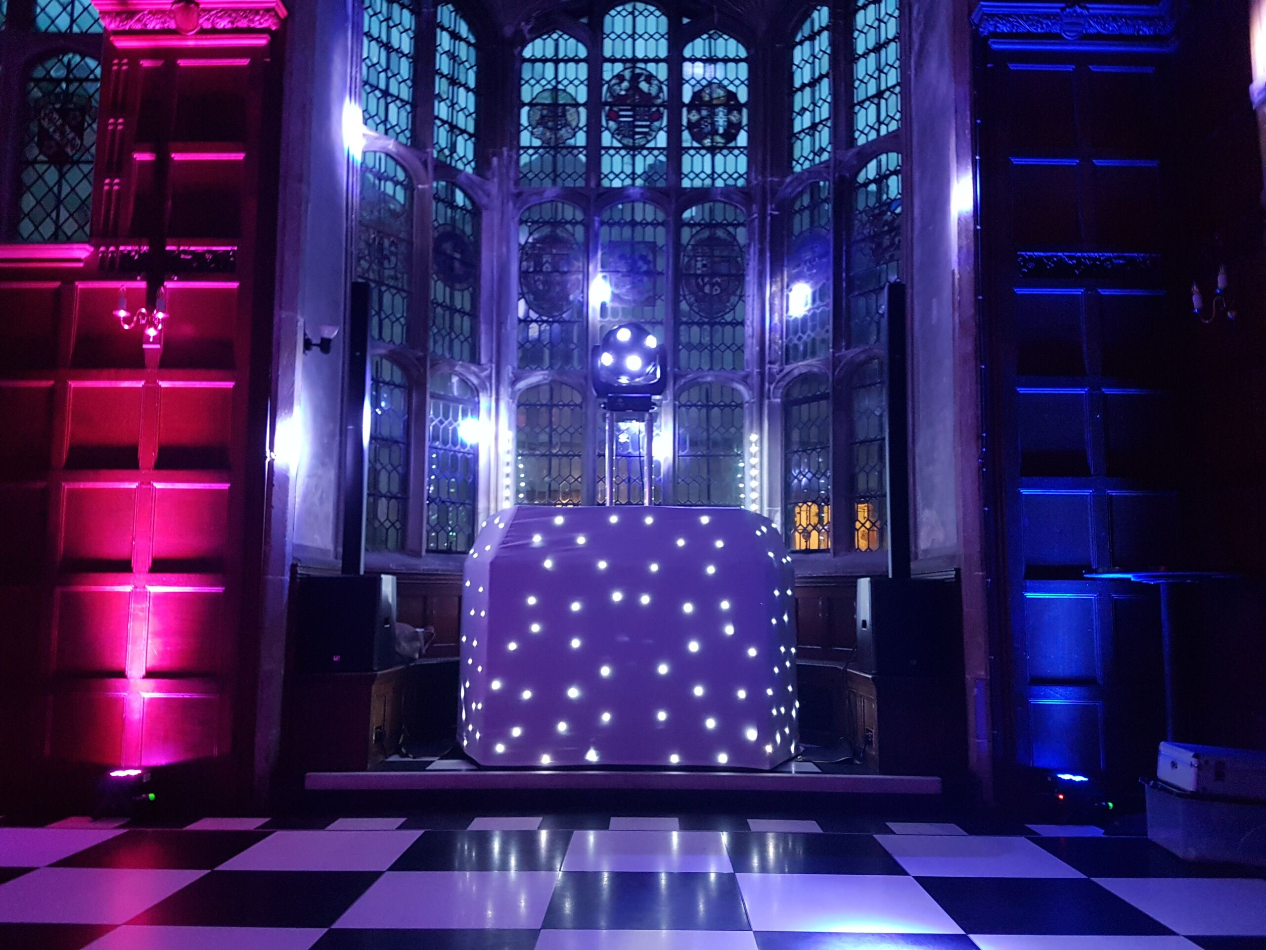 Mobile Disco set up at Hengrave Hall in Suffolk