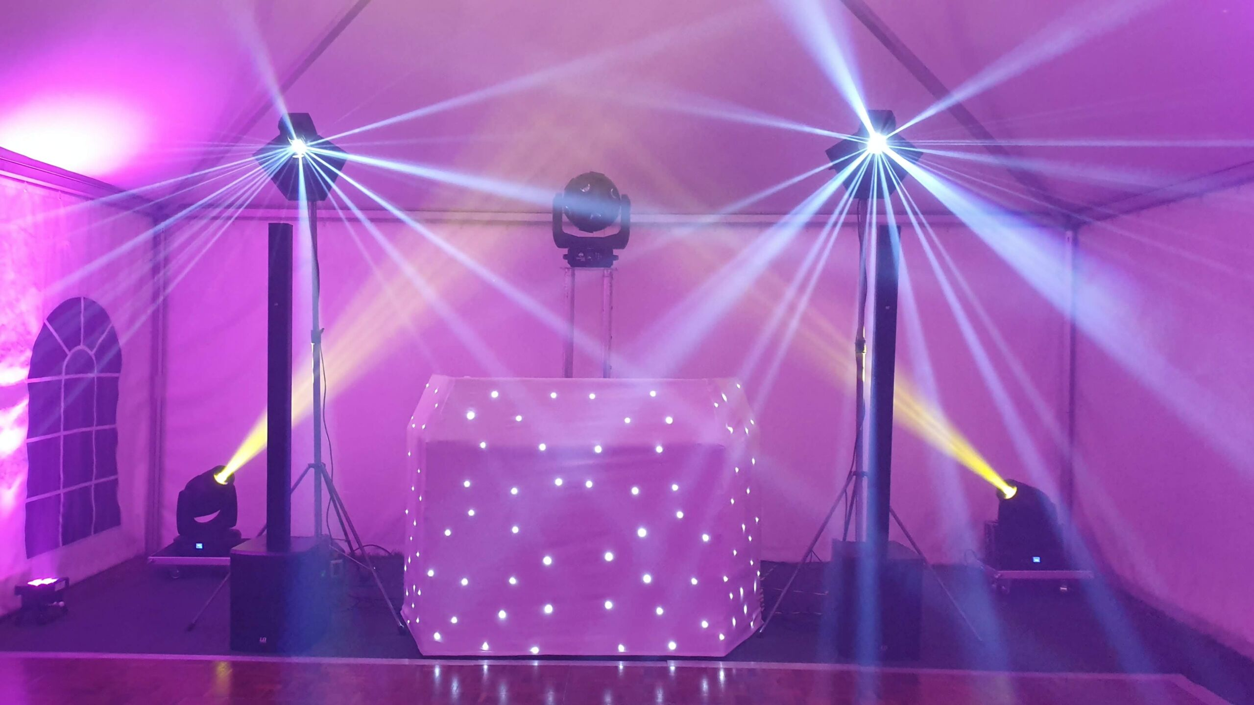 Pink mobile disco set up with lighting effects