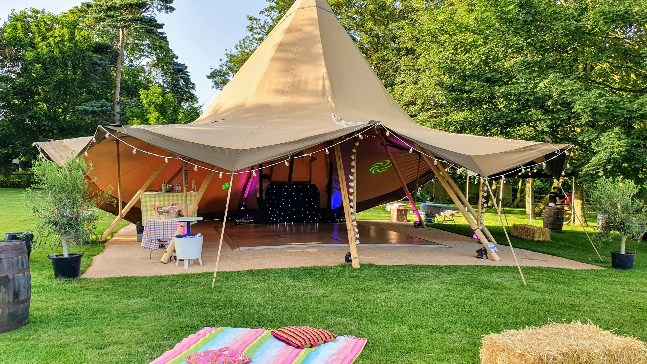 Mobile disco set up in a tipi tent