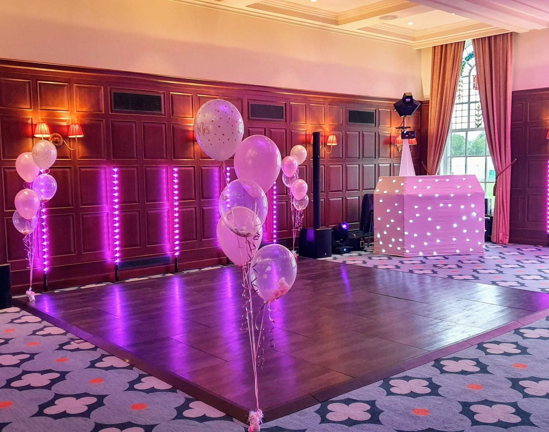 Mobile Disco with pink uplighting and balloons at the University Arms Cambridge