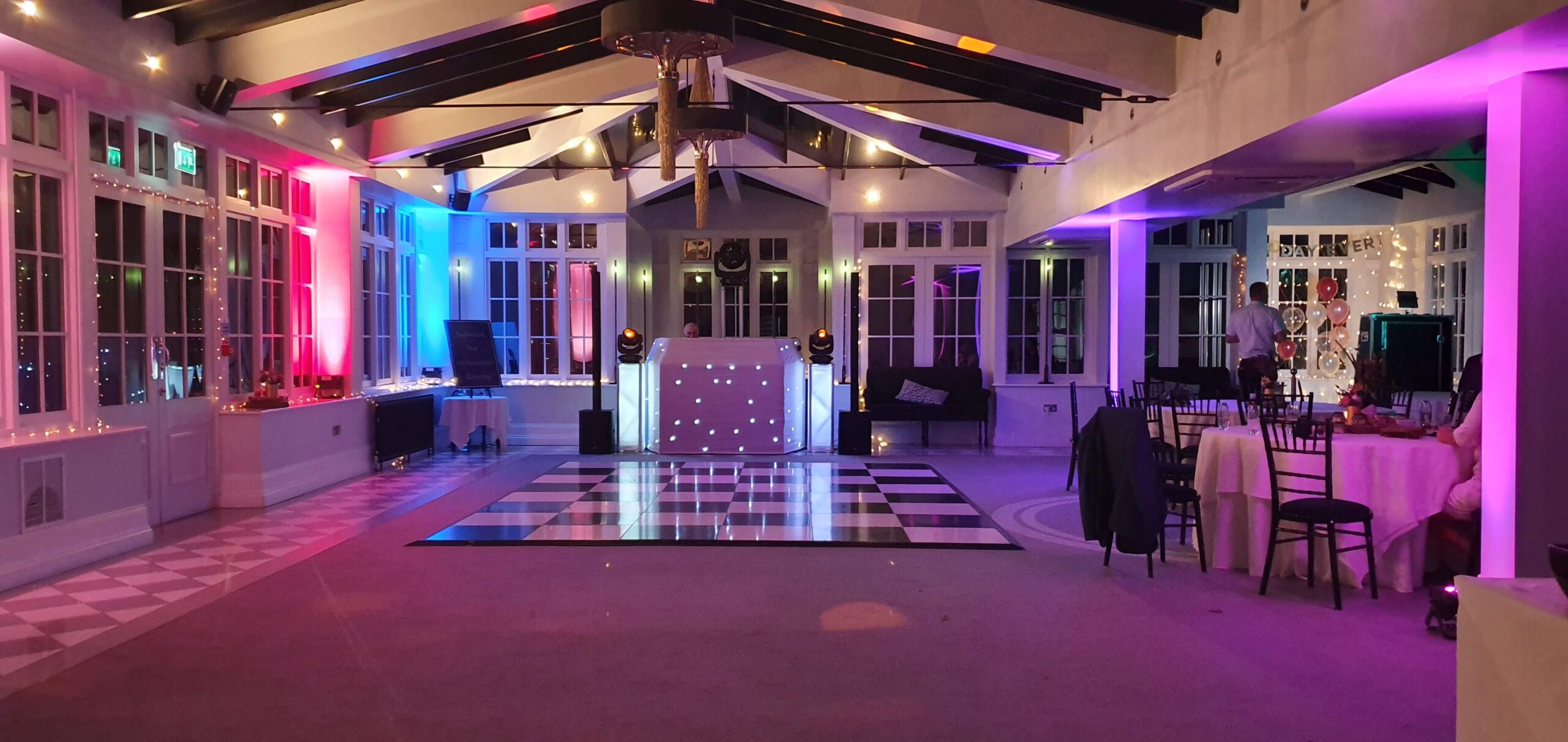 Swynford Manor mobile disco with pink and blue lighting