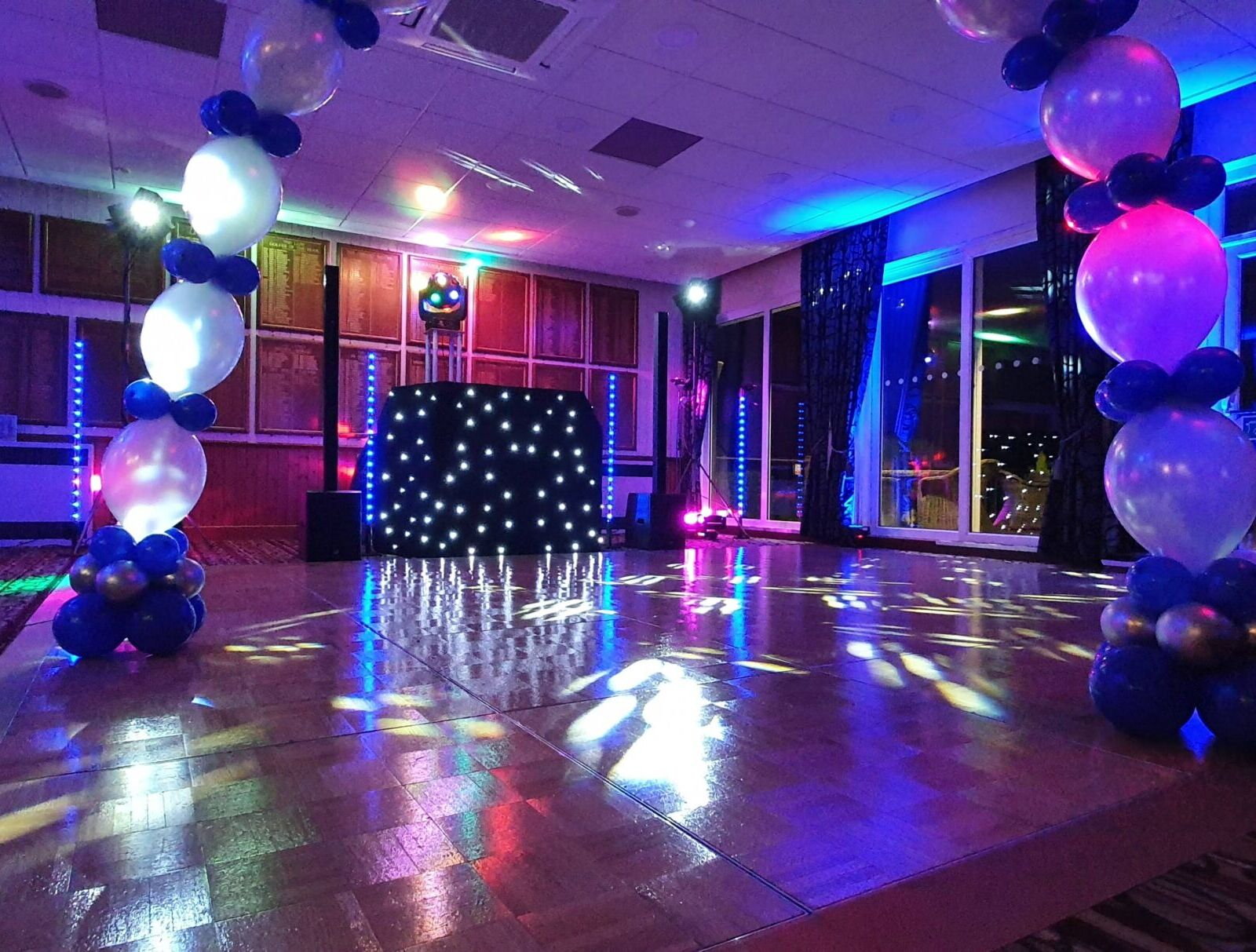 Mobile Disco and balloon arch set up for a party